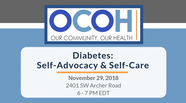 November 29, 2018 Self-Advocacy Skills for People with Diabetes - Town hall discussion; 6-7 p.m. EDT; Livestream: bit.ly/OCOHNOV29; RSVP: bit.ly/OCOHDPR