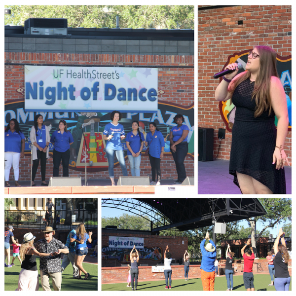 Night of Dance 2018 Kick off, pictured in this collage are the HealthStreet staff, Alyssa Berger, GODS w/ The Mourning Glories and Andy Kane, Yoga Pod